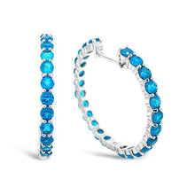 Load image into Gallery viewer, 3.00 Carat Genuine Neon Apatite Hoop Earrings in Sterling Silver