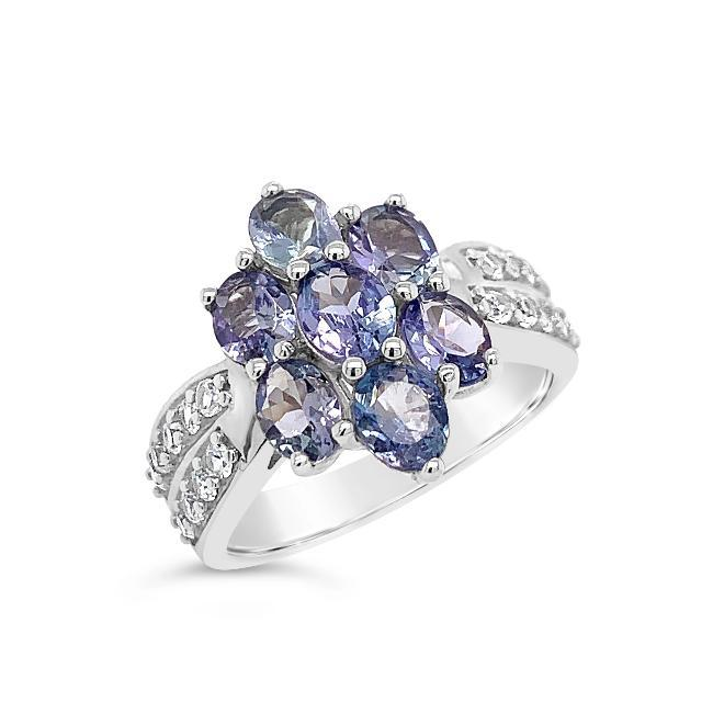 1.60 Carat Tanzanite & White Zircon Flower Ring in Sterling Silver