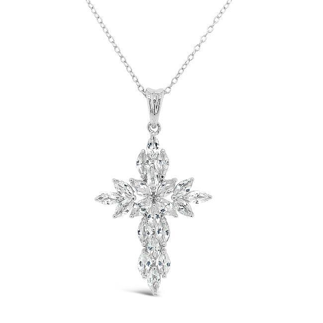 4.00 Carat White Zircon Cross Pendant in Sterling Silver  - 18""