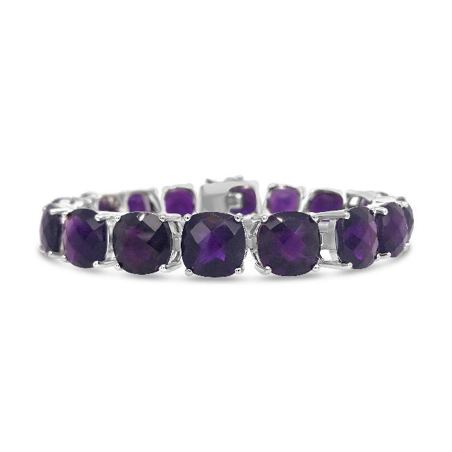 75.00 Carat Genuine Amethyst Bracelet in Sterling Silver - 7""