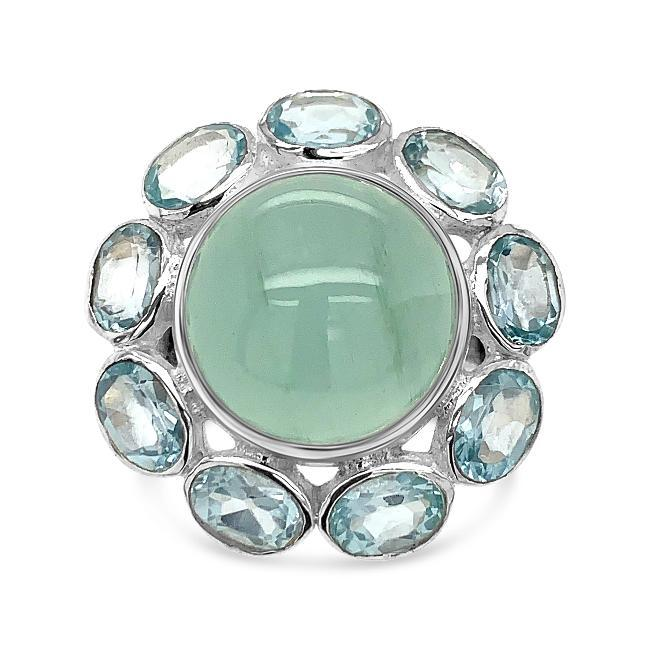 7.50 Carat Aquamarine Flower Ring in Sterling Silver