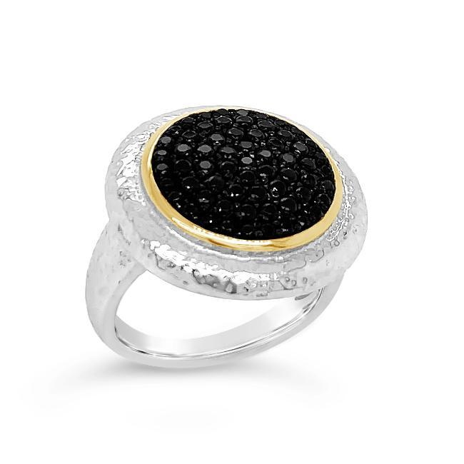 1/2 Carat Black Spinel Cluster Ring in Two-Tone Sterling Silver