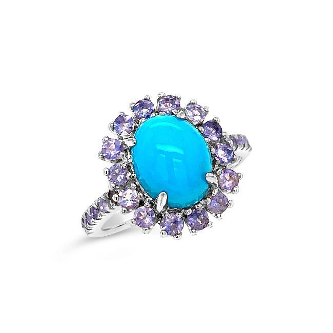 1.75 Carat Genuine Blue Opal & Iolite Ring in Sterling Silver