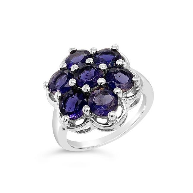 3.50 Carat Genuine Iolite Flower Ring in Sterling Silver