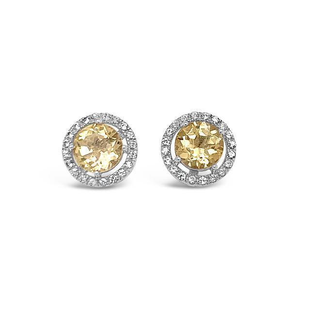 0.50 Carat Genuine Yellow Aquamarine & White Zircon Halo Earrings in Sterling Silver