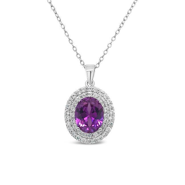 1.20 Carat Purple Nano & White Zircon Pendant in Sterling Silver - 18""