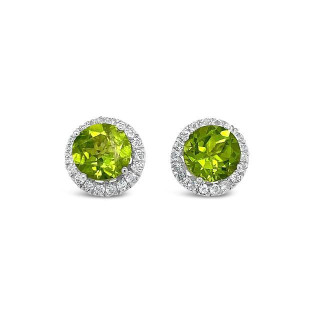 1.90 Carat Genuine Peridot & White Zircon Halo Earrings in Sterling Silver