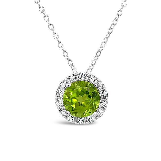 1.40 Carat Genuine Peridot & White Zircon Halo Pendant in Sterling Silver - 18""