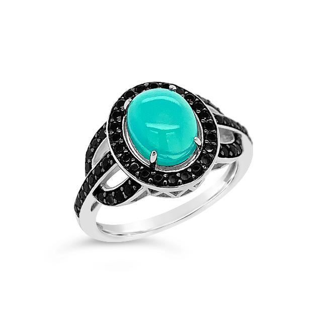 1.00 Carat Genuine Blue Opal & Black Spinel Ring in Sterling Silver