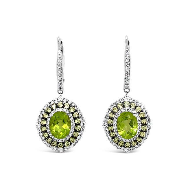 2.25 Carat Genuine Peridot & White Zircon Dangle Earrings in Sterling Silver