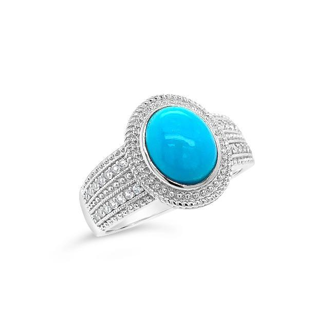 Genuine Sleeping Beauty Turquoise & White Zircon Ring in Sterling Silver