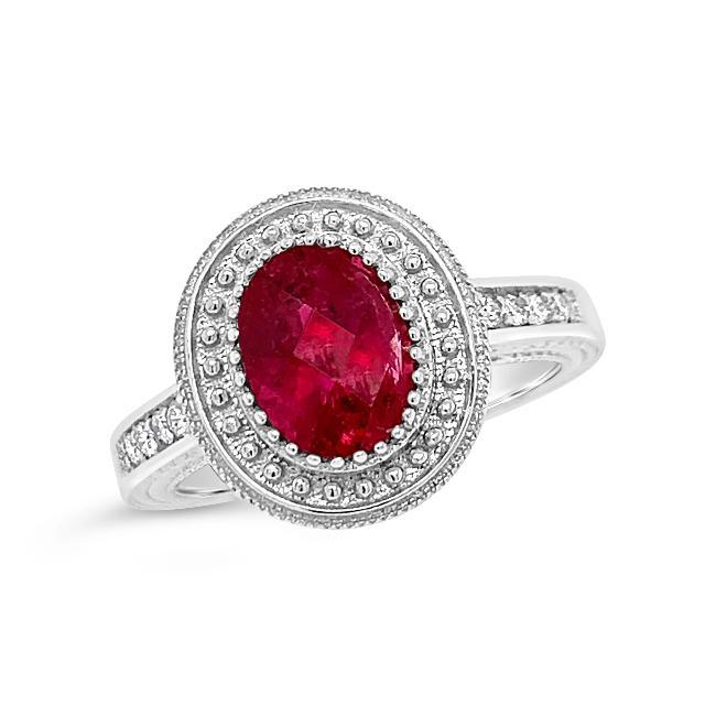 1.58 Carat Genuine Rubellite & Diamond Ring in 14K White Gold