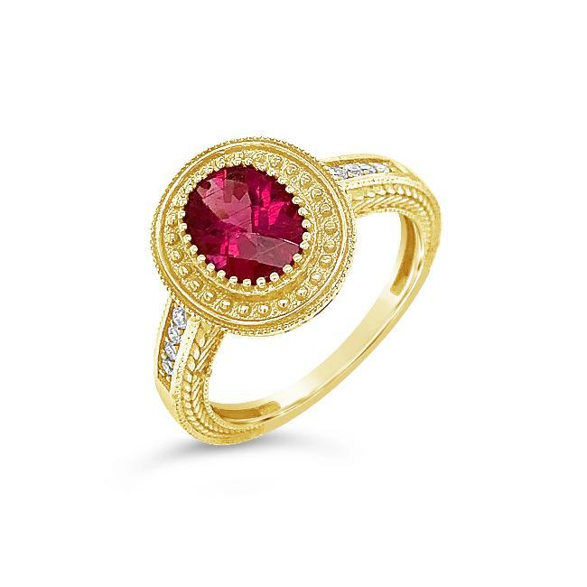 1.58 Carat Genuine Rubellite & Diamond Ring in 14K Yellow Gold