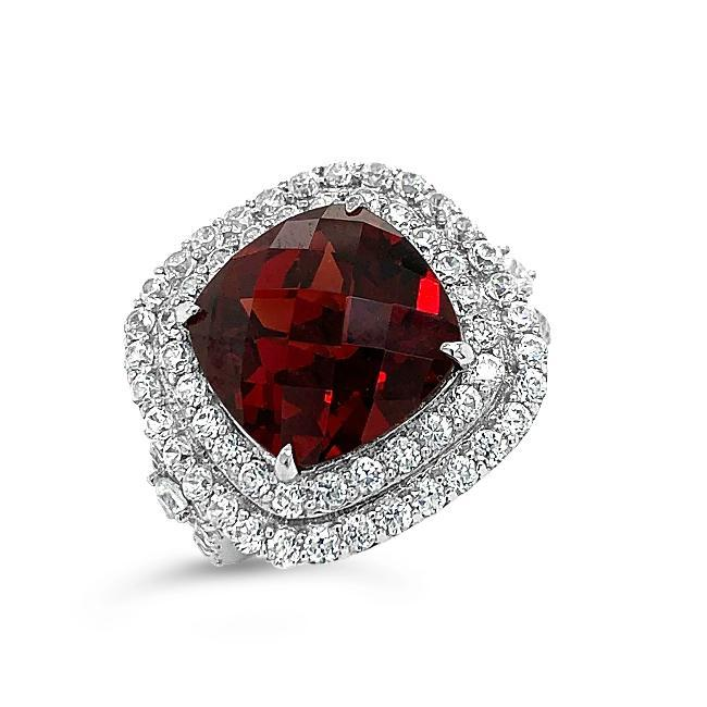 11.33 Carat Genuine Garnet & White Zircon Ring in 14K White Gold