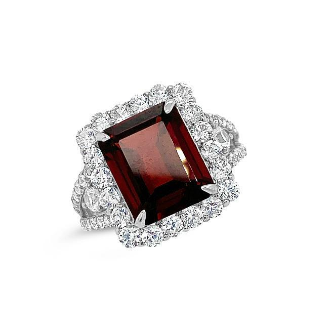 10.19 Carat Genuine Garnet & White Zircon Ring in 14K White Gold