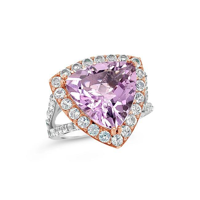 8.42 Carat Genuine Amethyst & White Topaz Ring in Two-Tone Sterling Silver
