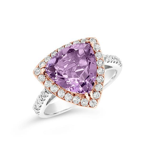 6.28 Carat Genuine Amethyst & White Topaz Ring in Two-Tone Sterling Silver