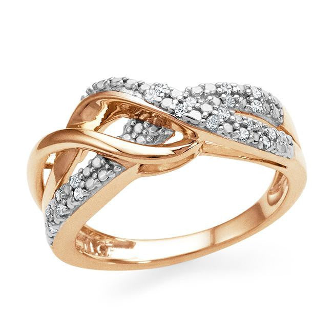 Diamond Accent Infinity Ring In Rose Gold-Plated Sterling Silver