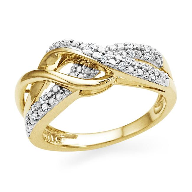 Diamond Accent Infinity Ring In Gold-Plated Sterling Silver