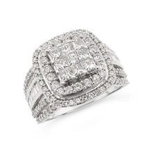 Load image into Gallery viewer, 1.50 Carat Princess Cut Quad Diamond Engagement Ring in 10K White Gold (H-I,I1-I2)