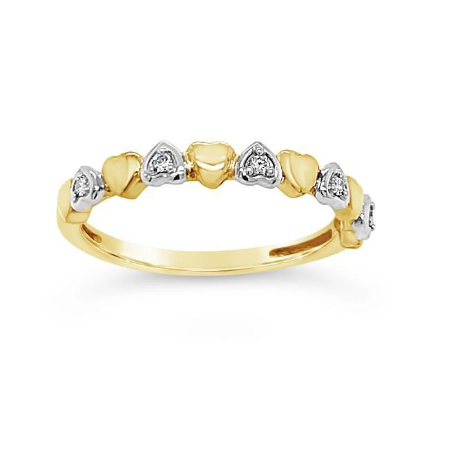 Diamond Accent Heart Band in 10K Yellow Gold