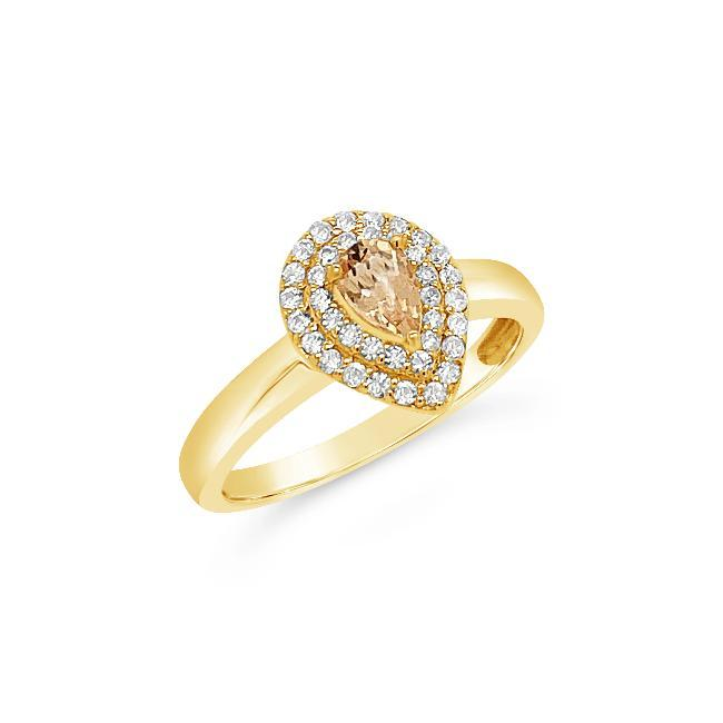0.50 Genuine Imperial Topaz & White Zircon Ring in 14K Yellow Gold