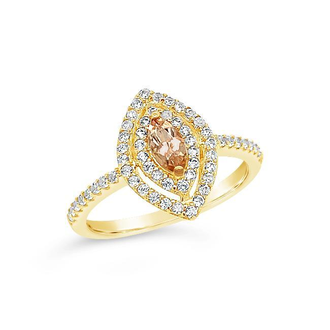 1/2 Carat Genuine Imperial Topaz & White Zircon Ring in 14K Yellow Gold