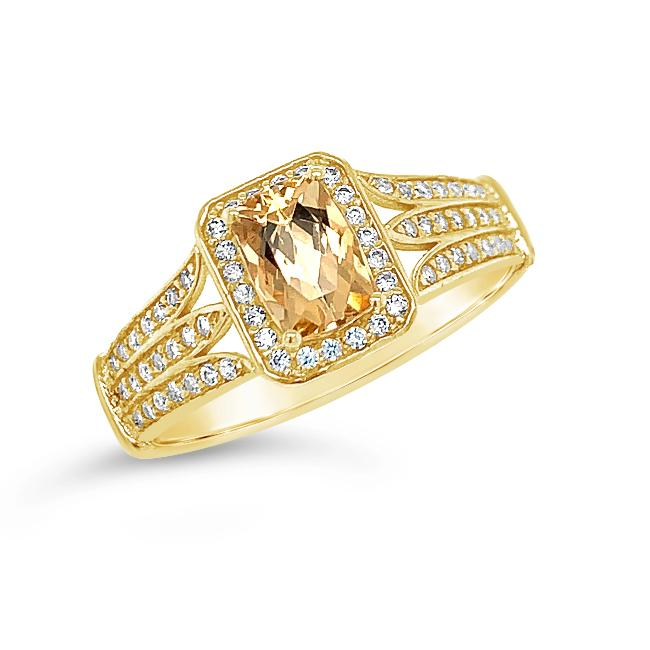 1.25 Carat Imperial Topaz & White Zircon Ring in 14K Yellow Gold