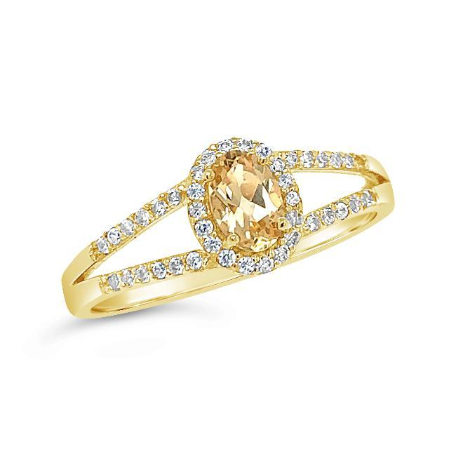 0.68 Carat Genuine Imperial Topaz & White Zircon Ring in 14K Yellow Gold