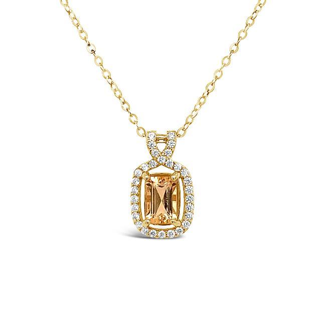 0.70 Carat Genuine Imperial Topaz & White Zircon Pendant in 14K Yellow Gold - 18""