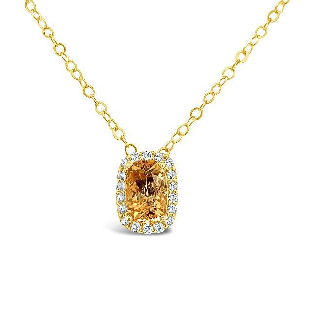 0.60 Carat Genuine Imperial Topaz & White Zircon Pendant in 14K Yellow Gold - 18""