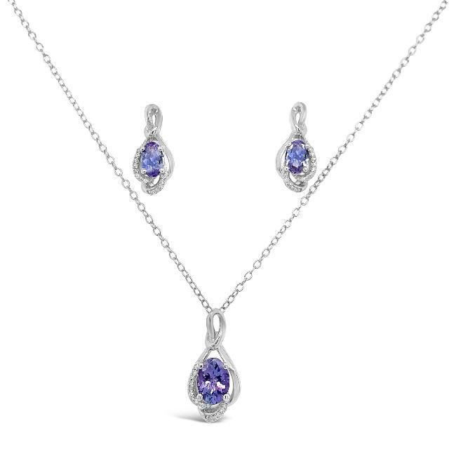 1.68 Genuine Tanzanite & Diamond Pendant and Earrings Set in Sterling Silver - 18""