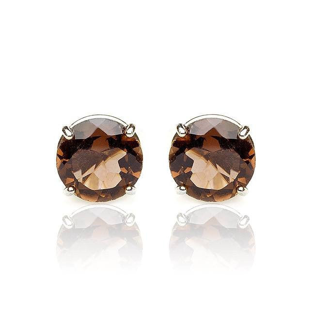 4.00 Carat Smoky Topaz Stud Earrings