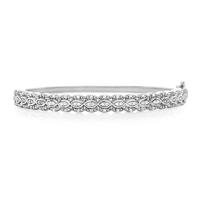 0.25 Carat Diamond Bangle Bracelet in Sterling Silver