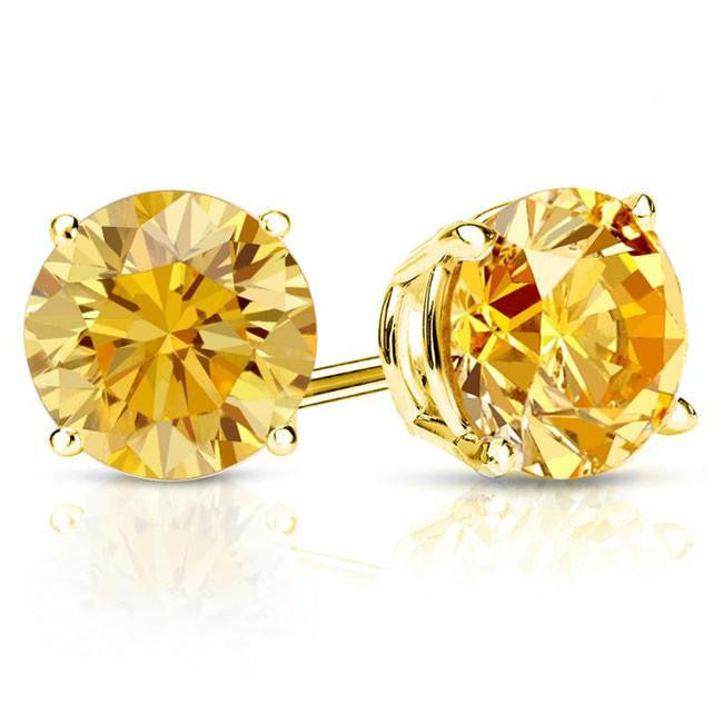 1/2 Carat Yellow Diamond Stud Earrings in 14K Yellow Gold