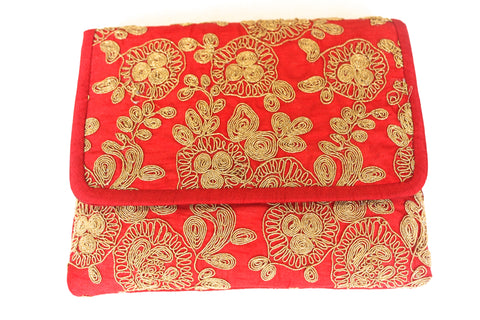 Geeta Red and Gold Clutch