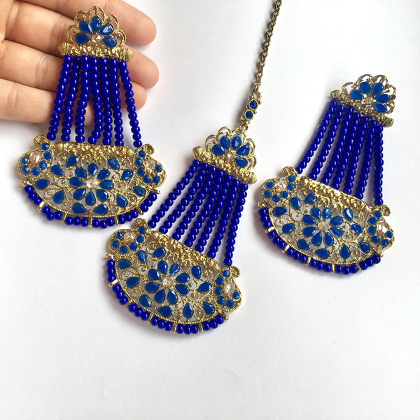Rupal Statement Blue Tikka & Earring Set