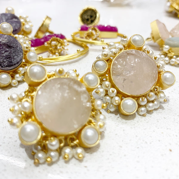 Layla Raw Stone and Pearl Studs