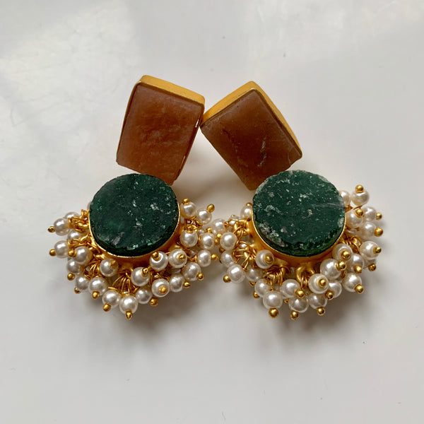 Rania Nude and Teal Green Earrings