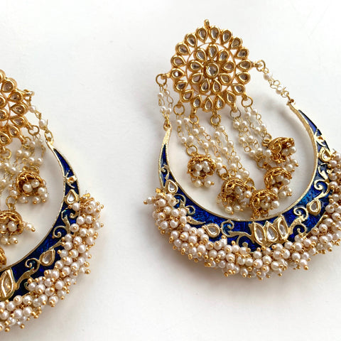 Geeta Navy Blue Chandbalis