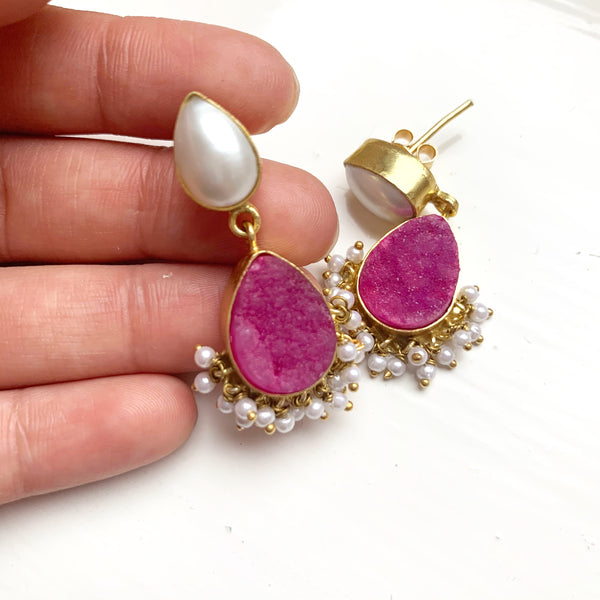 Shree Pink and Pearl Rawstone Earrings