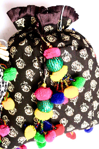 Black Boho Potli Bag