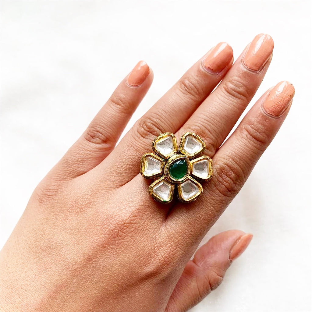Kundan green ring