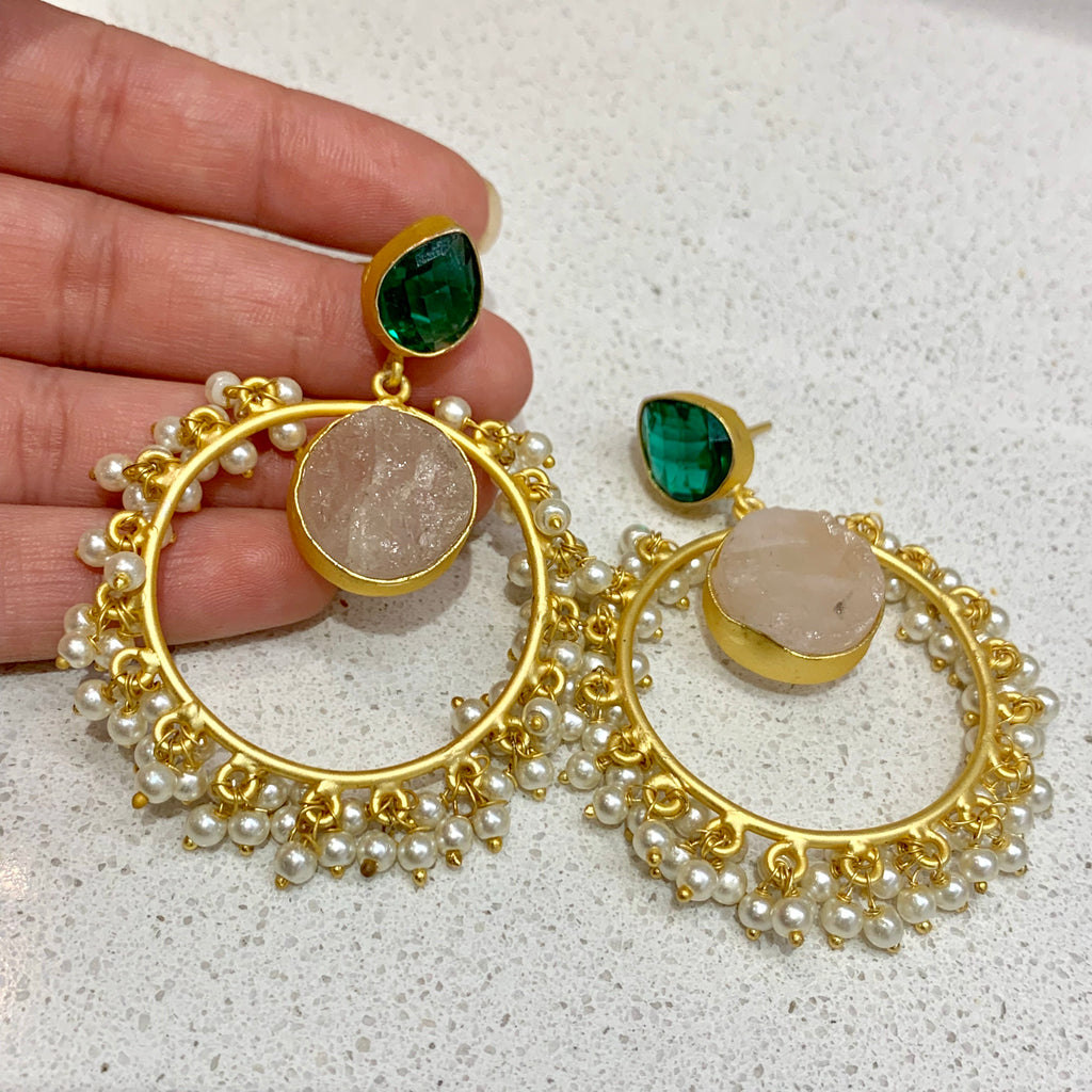 Tia Green and Pale Pink Earrings