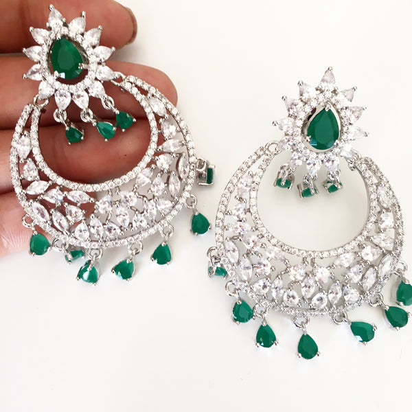 Vienna silver and green chandbalis