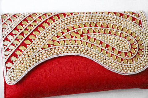 Red and Gold Embellished Envelope Bag