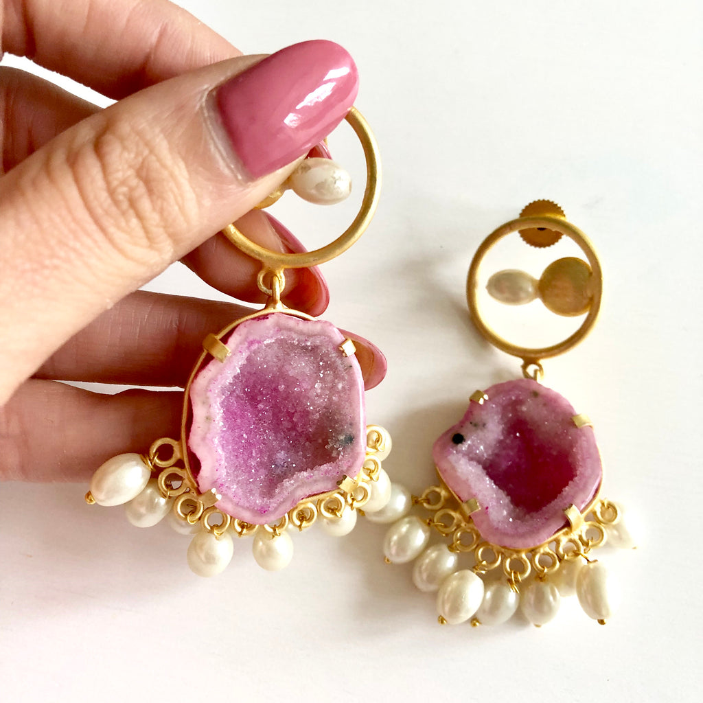 Hana Raw Stone Hot Pink Earrings