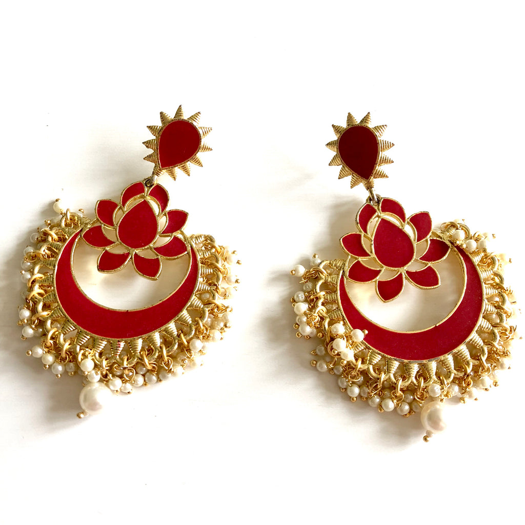 Kavya Maroon Lotus Earrings