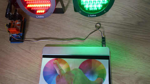 Look, no computer! Arduino-based Touch-Sensitive DMX Lighting Controller.