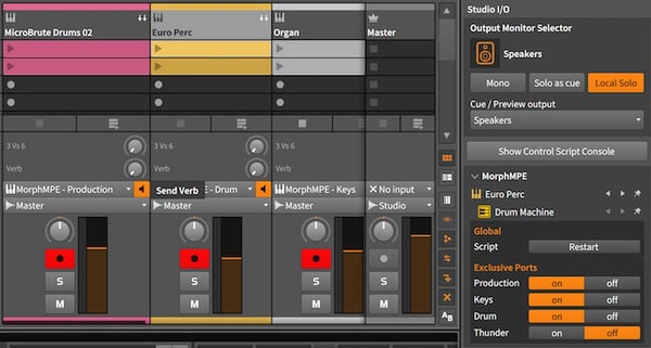 Example setup using exclusive ports to dedicate different overlays to tracks.